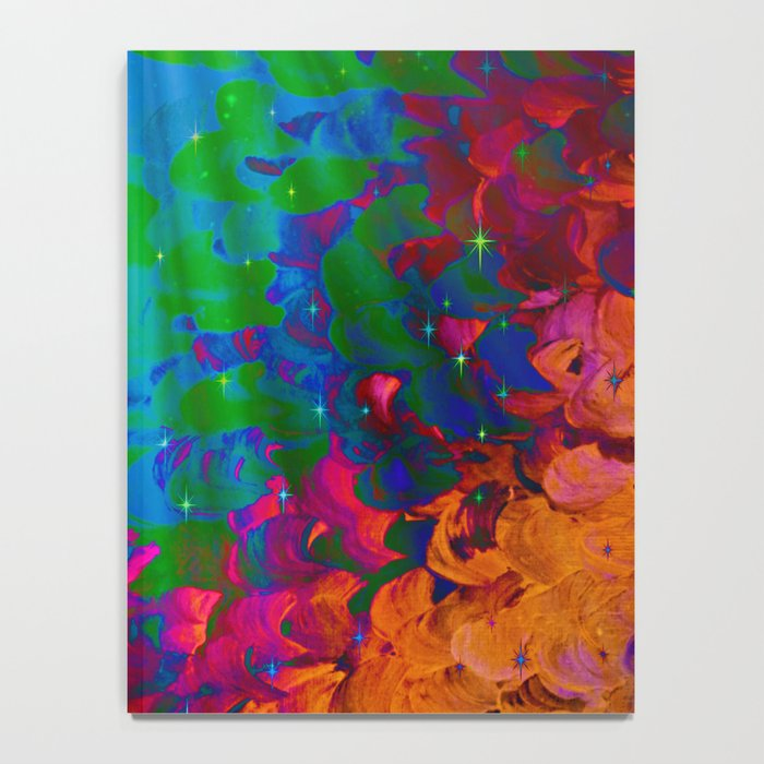UNDER THE SEA Bold Colorful Abstract Acrylic Painting Mermaid Ocean Waves Splash Water Rainbow Ombre Notebook