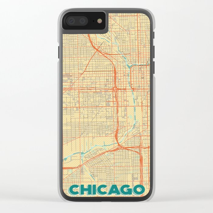 Chicago Map Retro Clear iPhone Case