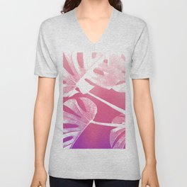 Pink Purple Sunset Gradient Tropical Swiss Cheese Unisex V-Neck