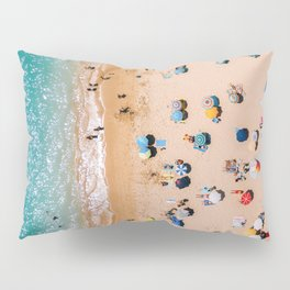 People On Algarve Beach In Portugal, Drone Photography, Aerial Photo, Ocean Wall Art Print Pillow Sham