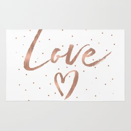 Rose Gold Glam Love Heart Confetti Rug