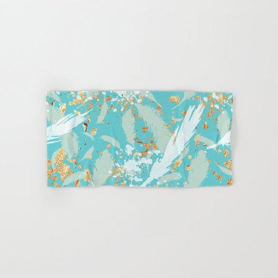 Feather peacock peach mint #2 Hand & Bath Towel