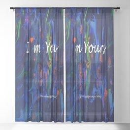 Melting Crystals, Green, Yellow, Brown an Aqua Sheer Curtain