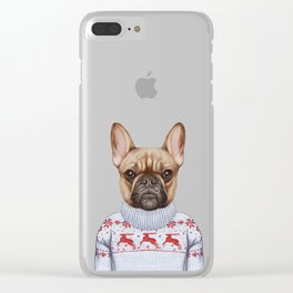 Animals as a human. French Bulldog in down vest and sweater. Clear iPhone Case
