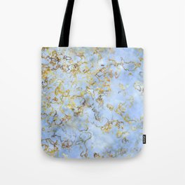 Blue And Gold Marble Tote Bag