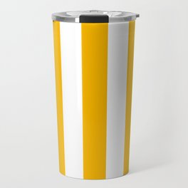 Microsoft yellow - solid color - white vertical lines pattern Travel Mug