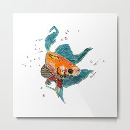 Betta Fish Scribble Art Metal Print
