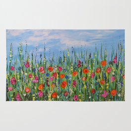 Summer Wildflowers, Landscape Art with Flowers Rug