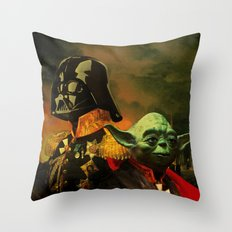 Portrait of Lord Vader & Master Yoda Throw Pillow