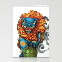 foo fighters Stationery Cards featuring Foo Dog by missfortunetattoo