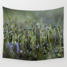 dewy moss sprouts Wall Tapestry