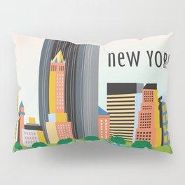 New York City, New York - Skyline Illustration by Loose Petals Pillow Sham