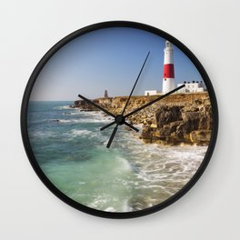 Portland Bill Lighthouse in Dorset, England on a sunny day Wall Clock