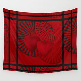 Love. The loving hearts . The red background . Wall Tapestry