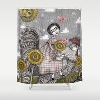 ballon Shower Curtains featuring Last Days of Summer by Judith Clay