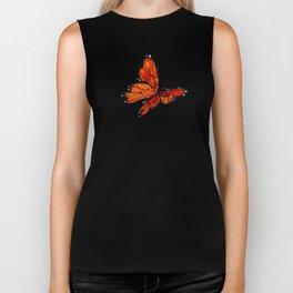 Orange Watercolor Butterfly Design Biker Tank