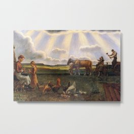 Columns of Sun over the Family Homestead on the American Plains by John Steuart Curry Metal Print