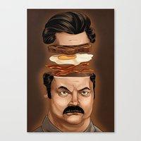 ron swanson Canvas Prints featuring Ron Swanson by Dave Collinson