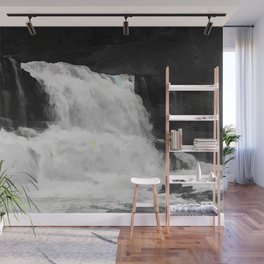 Waterfall in Black and White with modifications Wall Mural