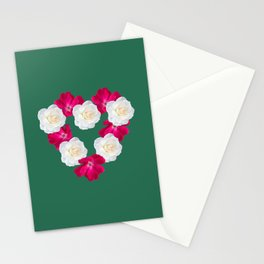 Rose Heart Emerald Stationery Cards