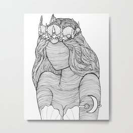 Mermaid Royalty Drawing Metal Print