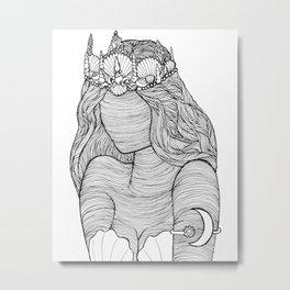 Mermaid Royalty Drawing Metal Print