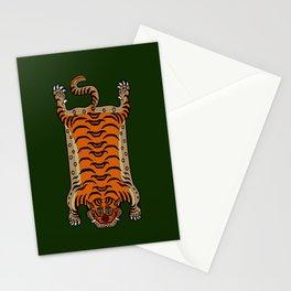 TIBETAN TIGER RUG-green Stationery Cards