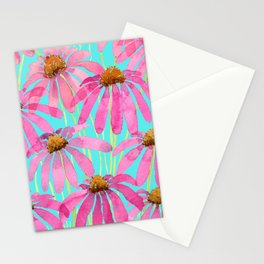 Pink Coneflowers On Turquoise - Watercolor Floral  Stationery Cards