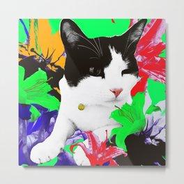 Winky Cat and Neon Lilies Metal Print