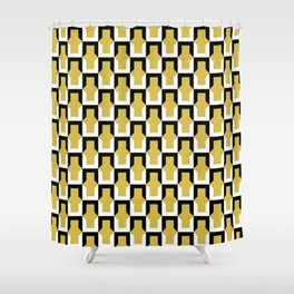 Cornered No. 2 Pattern - Black and White on Gold Shower Curtain