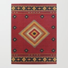 (N14) Red Anthropologie Oriental Moroccan Traditional Artwork. Poster