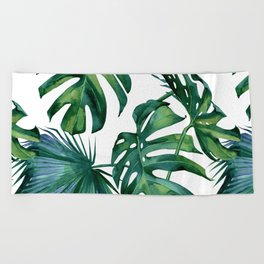 Classic Palm Leaves Tropical Jungle Green Beach Towel