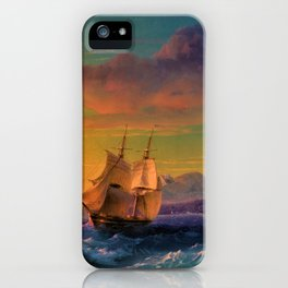 Ship at Sunset off of Cape Martin by Ivan Aivazovsky iPhone Case
