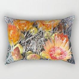 Barrel Cactus in Bloom, Yellow Flowers and Fruit Rectangular Pillow