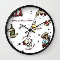 kendrawcandraw Wall Clocks featuring Tattoo You by kendrawcandraw