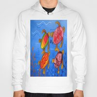 swimming Hoodies featuring Swimming by Montes Arte Mexicano