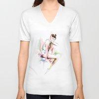 ballerina V-neck T-shirts featuring ballerina by tatiana-teni