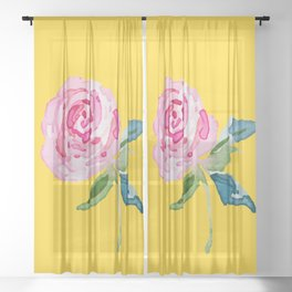 Watercolor Rose Sheer Curtain