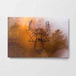 Nature Deer orange Metal Print