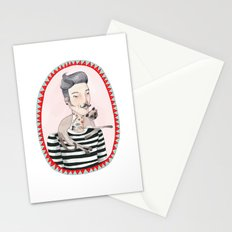 He is a cat person! Stationery Cards
