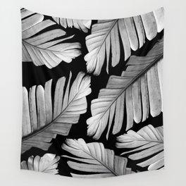 Tropical Gray White Banana Leaves Dream #1 #decor #art #society6 Wall Tapestry