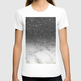 Stylish faux black glitter ombre white marble pattern T-shirt
