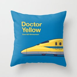 Doctor Yellow Class 923 Shinkansen Bullet Train Side Profile Blue Throw Pillow