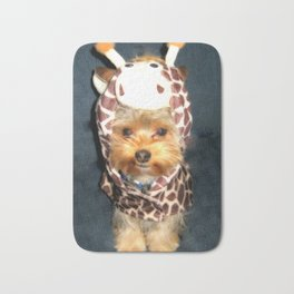 Happy Yorkie in Giraffe Costume | Dogs Bath Mat