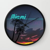 miami Wall Clocks featuring Miami by Nioko
