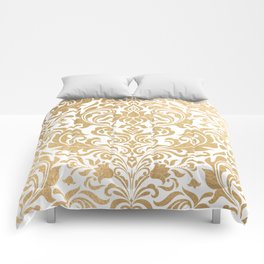 Gold foil swirls damask #12 Comforters