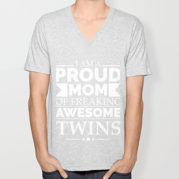Proud mom of awesome twins Unisex V-Neck