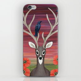 white tailed deer, crows, poppies iPhone Skin