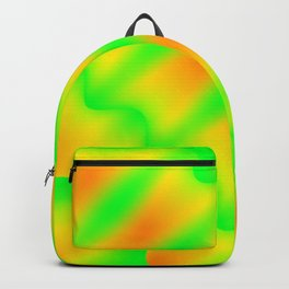 Bright pattern of blurry green and yellow lines and curly patterns. Backpack