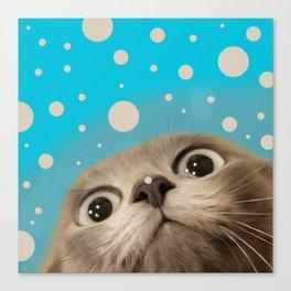 """""""Fun Kitty and Polka dots"""" Canvas Print"""